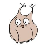 Cute Funny Embarrassed, Shy and Blushes Owl Bird . Isolated On a White Background. Doodle Cartoon Hand Drawn Sketch Stock Image