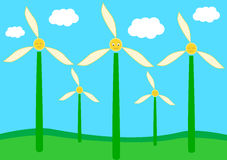 Cute and funny flowers wind turbine Royalty Free Stock Images