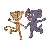 Cute and funny friends kitten and puppy happily running hand in hand Stock Image