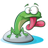 Cute, funny frog cartoon Stock Images
