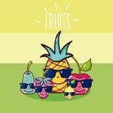 Cute fruits cartoon stock illustration