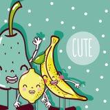Cute fruits cartoon royalty free illustration