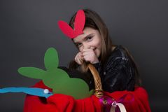 Cute funny girl with bunny ears. And Easter eggs isolated Royalty Free Stock Images