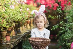 Cute funny girl with Easter bunny ears at garden. easter concept. Laughing child at Easter egg hunt. Baby caucasian celebrate celebration cheerful colorful stock image