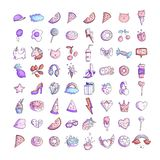 Cute funny Girl teenager colored icon set, fashion cute teen and princess icons - pizza, unicorn, cat, lollypop, fruits. Cute funny Girl teenager colored line royalty free illustration