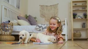 Little Girl Drawing with Pencils near Puppies