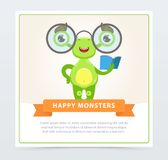 Cute funny green monster with glasses and book, happy monsters banner cartoon vector element for website or mobile app. With sample text Stock Photography