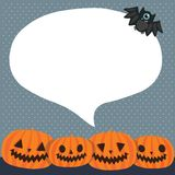 Cute funny Halloween pumpkins with bubble speech Royalty Free Stock Images