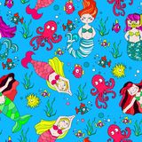 Cute and funny hand drawn mermaid and fish seamless pattern vector. For prints on paper, fabric or objects Royalty Free Stock Photography