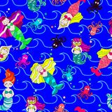 Cute and funny hand drawn mermaid and fish seamless pattern vector. For prints on paper, fabric or objects Royalty Free Stock Photos