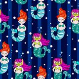 Cute and funny hand drawn mermaid and fish seamless pattern vector. For prints on paper, fabric or objects Royalty Free Stock Images