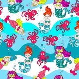 Cute and funny hand drawn cartoon mermaid and fish seamless pattern vector. Cute and funny hand drawn mermaids seamless pattern vector for prints on paper Royalty Free Stock Images