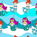 Cute and funny hand drawn mermaids seamless pattern vector royalty free illustration