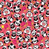 Cute and funny hand drawn pandas with hearts design seamless pattern vector. Cute, beautiful and funny hand drawn pandas with hearts and baloons design seamless Stock Photo