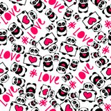 Cute and funny hand drawn pandas with hearts love typography design seamless pattern vector. Romantic and funny hand drawn pandas with hearts love typography Stock Image