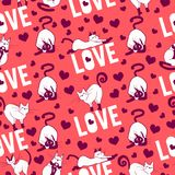 Cute and funny hand drawn typography love design with cats seamless pattern vector. For prints on paper, fabric or objects Royalty Free Stock Photography