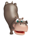 Cute funny Hippo cartoon character Stock Photos