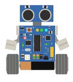 Cute and funny homemade DIY robot. Vector illustration on isolated background Royalty Free Stock Photo