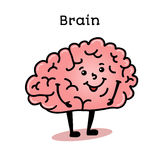 Cute and funny human brain character stock illustration