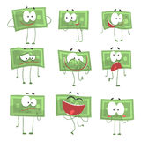 Cute funny humanized banknotes showing different emotions   Royalty Free Stock Image