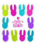 Cute funny  illustration with bunny heads Stock Image