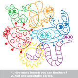 Cute funny insects mishmash colorful set in vector. Stock Photo