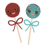 Cute funny kawaii chocolate and blue Sweet Cake pops set with bow isolated on white background. Vector Royalty Free Stock Photos