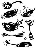 Cute funny kitchenware with eyes. Silhouette of cute funny kitchenware with eyes Stock Image