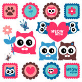 Cute funny kittens set Royalty Free Stock Photos