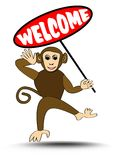Cute funny leaping monkey with welcome billboard Royalty Free Stock Photography