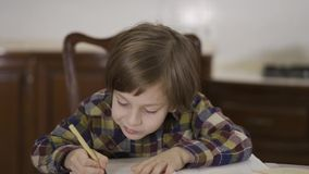 Portrait cute funny little boy in checkered shirt doing his homework sitting at home at the table. The schoolboy drawing stock video footage