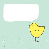 Cute funny little chicken bird with talking bubble Royalty Free Stock Photography