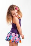 Cute, funny little girl, studio portrait. On white Stock Image