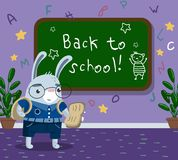 Cute funny little rabbit animal student in school uniform. Standing next to blackboard in the calssroom, back to school concept vector Illustration, cartoon Royalty Free Stock Images