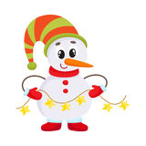 Cute and funny little snowman holding a garland, vector illustration Stock Photography
