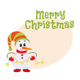 Cute and funny little snowman holding a garland, vector illustration Royalty Free Stock Image