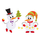 Cute and funny little snowman holding a garland, vector illustration Stock Photos