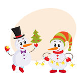 Cute and funny little snowman holding a garland, vector illustration Stock Photo