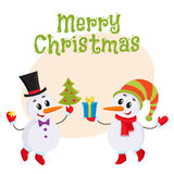 Cute and funny little snowman holding a gift box, vector illustration Royalty Free Stock Image