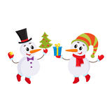 Cute and funny little snowman holding a gift box, vector illustration Stock Photo