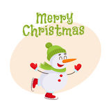 Cute and funny little snowman ice skating happily, vector illustration Stock Photography