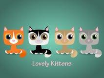 Cute funny lovely kittens. Vector illustration. Stock Photography
