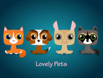Cute funny lovely pets. Vector illustration. Stock Photo