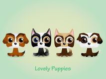 Cute funny lovely puppies. Vector illustration. Royalty Free Stock Image