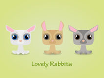 Cute funny lovely rabbits. Vector illustration. Stock Photos