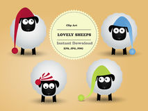 Cute funny lovely sheeps. Clipart. Stock Photography