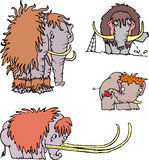 Cute funny mammoth cartoons Stock Photography