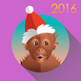 Cute funny monkey. Orang in a christmas hat on purple background Royalty Free Stock Images