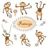 Cute funny monkeys collection Royalty Free Stock Image