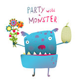 Cute and Funny Monster with Bunch of Flowers Fruit Stock Photos
